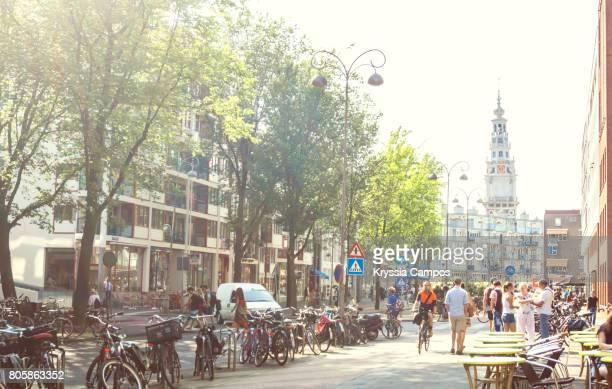 Hazy summer scene on streets of Amsterdam