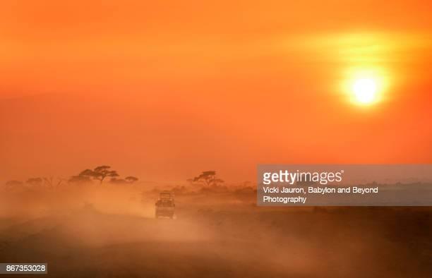 hazy sunset and safari vehicle in amboseli, kenya - bruma de calor fotografías e imágenes de stock
