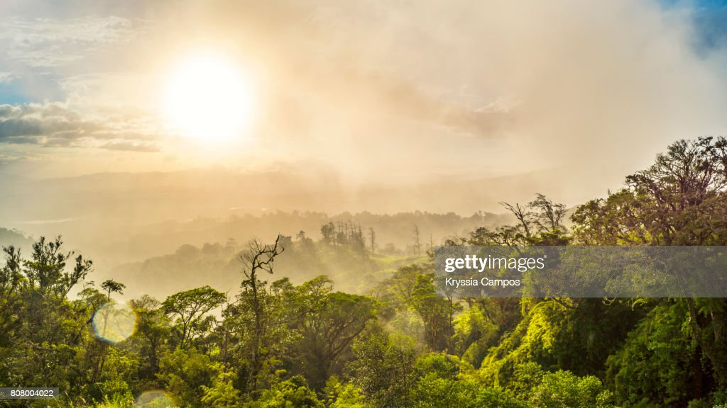 Hazy Sunset at Mountains of Costa Rica : Stock Photo