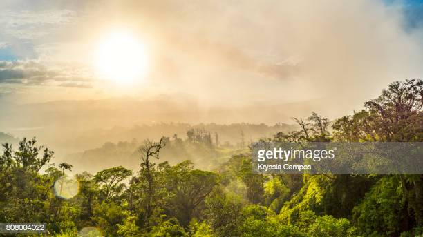 hazy sunset at mountains of costa rica - costa rica stock photos and pictures