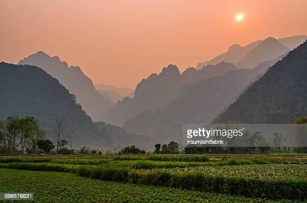 Hazy sunset hills