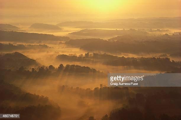Hazy Sunshine over Hills