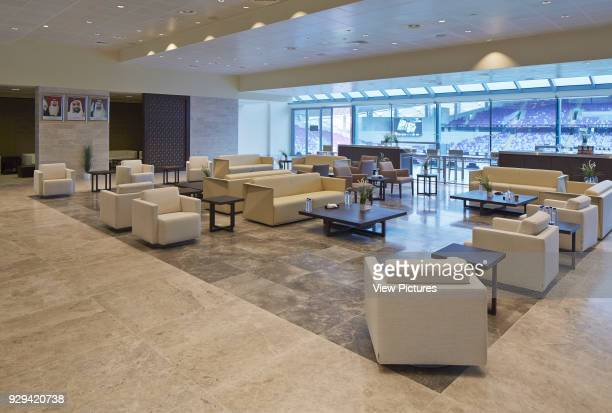 Hazza Bin Zayed Stadium, Al Ain, Al Ain, United Arab Emirates. Architect: Pattern Design, 2014. VIP lounge with view towards stands.