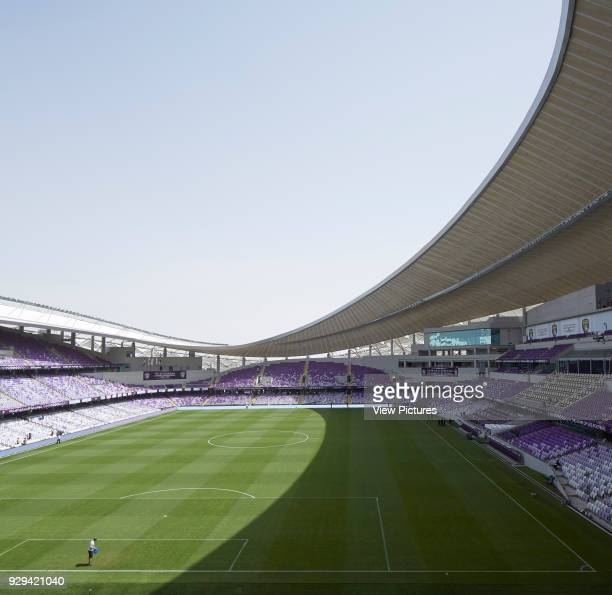 Hazza Bin Zayed Stadium Al Ain Al Ain United Arab Emirates Architect Pattern Design 2014 High angle view to stands and pitch with parasol roof