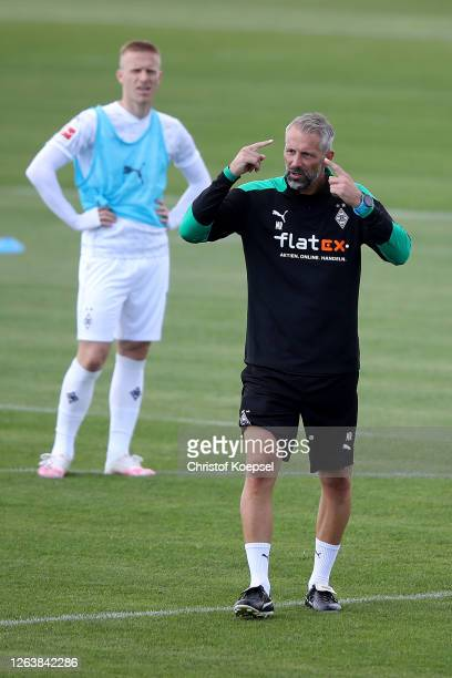 Hc Marco Rose of Moenchengladbach issues instructions during the first training session after the summer break at Training Ground on August 04, 2020...