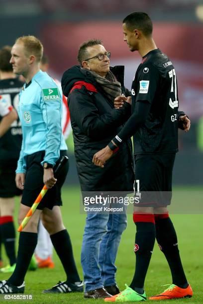 hc Norbert Meier of Kaiserslautern comforts Robert Glatzel after the Second Bundesliga match between Fortuna Duesseldorf and 1 FC Kaiserslautern at...