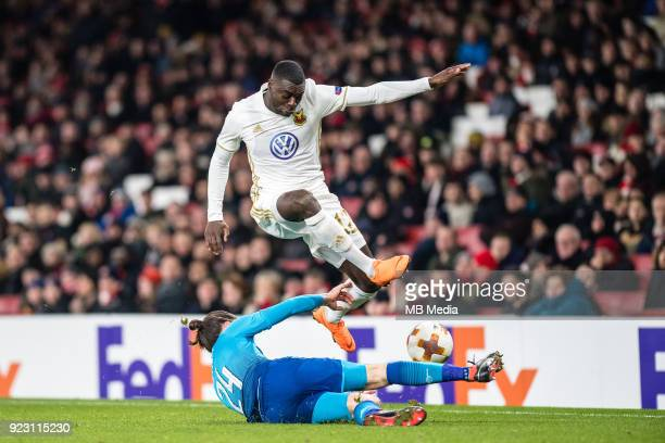 Héctor Bellerín of Arsenal and Ken Sema of Ostersunds FK vie for ball during UEFA Europa League Round of 32 match between Arsenal and Ostersunds FK...