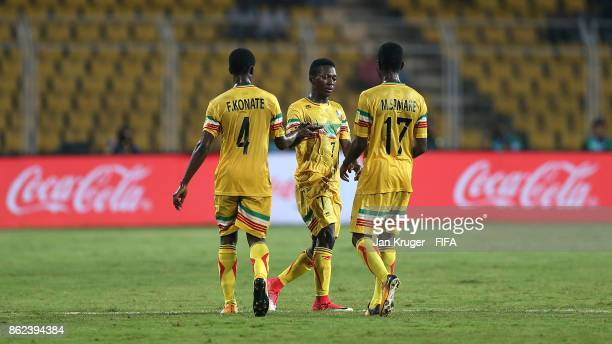 Hdji Drame of Mali celebrates scoring his teams opening goal during the FIFA U17 World Cup India 2017 Round of 16 match between Mali and Iraq at...