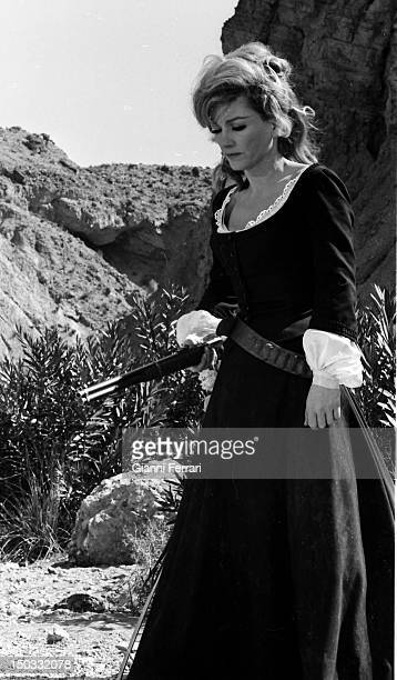 he American Actress Anne Baxter during the filming of the movie 'Las siete magnificas' directed by Gianfranco Parolini Almeria Spain