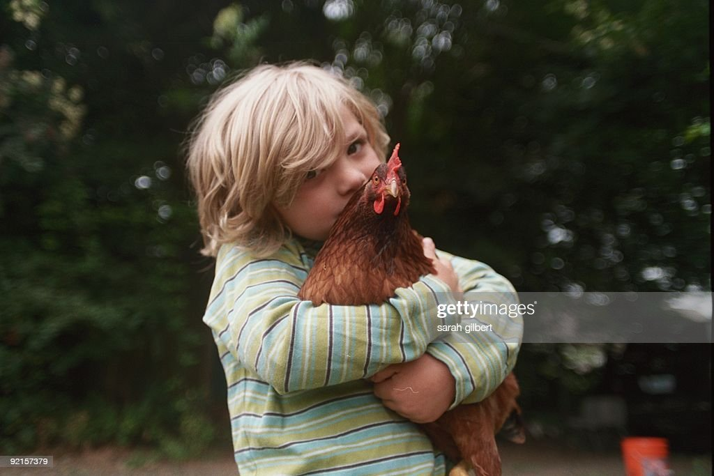 at age five, took quickly to our backyard chickens, teaching them to love his hugs.