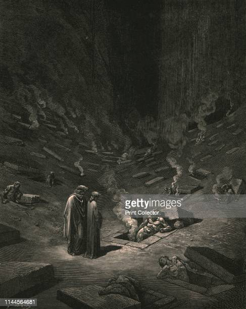 He answer thus return'd The archheretics are here' circa 1890 Dante and the Roman poet Virgil Illustration from The Vision of Hell the first part of...