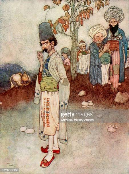 He assumed a disguise suitable to his purpose Illustration by Edmund Dulac for Ali Baba and the Forty Thieves From The Arabian Nights published 1938