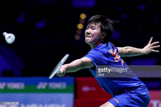He Biaojiao of China competes in the Women's Singles third round match against Akane Yamaguchi of Japan on day three of the YONEX 2019 All England...