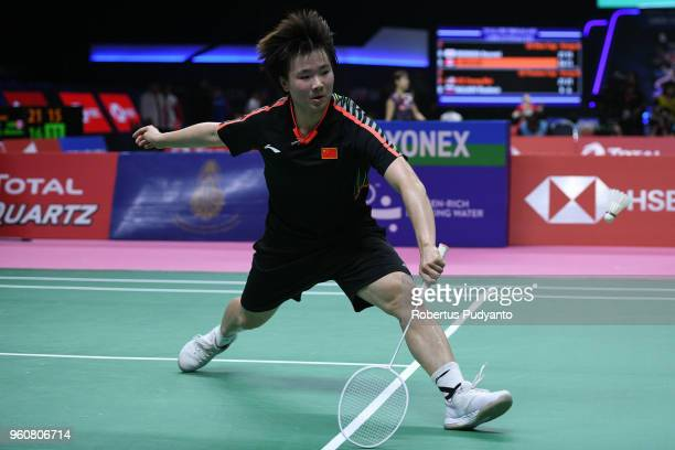 He Bing Jiao of China competes against Yaelle Hoyaux of France during Preliminary Round on day two of the BWF Thomas Uber Cup at Impact Arena on May...