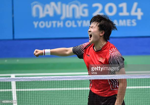 He Bingjiao of China celebrates in the Women's Singles Gold Medal Match against Akane Yamaguchi of Japan at Sport Institute Gymnasium during day six...