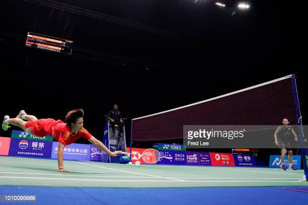He Bingjiao of China compete against Tai Tzu Ying of Chinese Taipei in their women's singles quarterfinals during the Badminton World Championships...