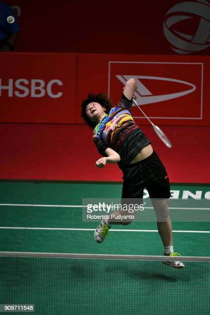 He Bingjiao of China competes against Aya Ohori of Japan during Women Singles Round 32 match of the Daihatsu Indonesia Masters 2018 at Istora Senayan...