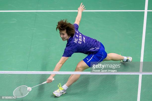 He Bingjiao of China competes against Beiwen Zhang of United States during their women singles round 32 match of the BWF Hong Kong Open Super Series...