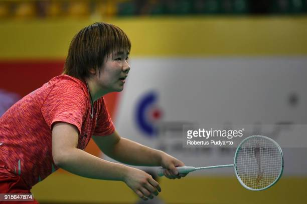 He Bingjiao of China competes against Gregoria Mariska Tunjung of Indonesia during the EPlus Badminton Asia Team Championships 2018 at Sultan Abdul...