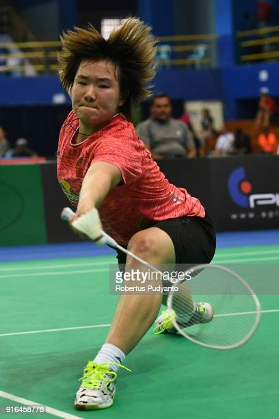He Bingjiao of China competes against Jang Mi Lee of Korea during Women's Team Semifinal match between Japan and Indonesia in the EPlus Badminton...
