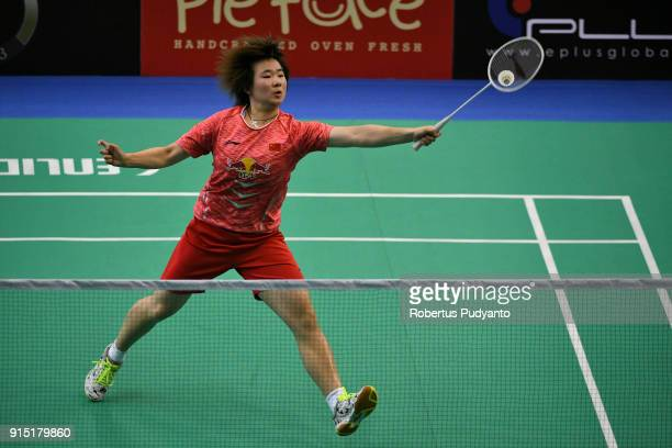 He Bingjiao of China competes against Jia Rong Sito of Singapore during the EPlus Badminton Asia Team Championships 2018 at Sultan Abdul Halim...