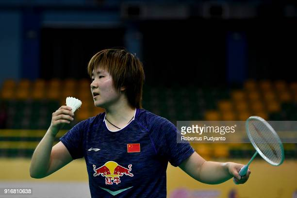 He Bingjiao of China competes against Nozomi Okuhara of Japan during Women's Team Final match between Japan and China in the EPlus Badminton Asia...