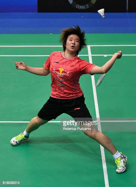 He Bingjiao of China competes against Pornpawee Chochuwong of Thailand during Women's Team Quarterfinal match of the EPlus Badminton Asia Team...