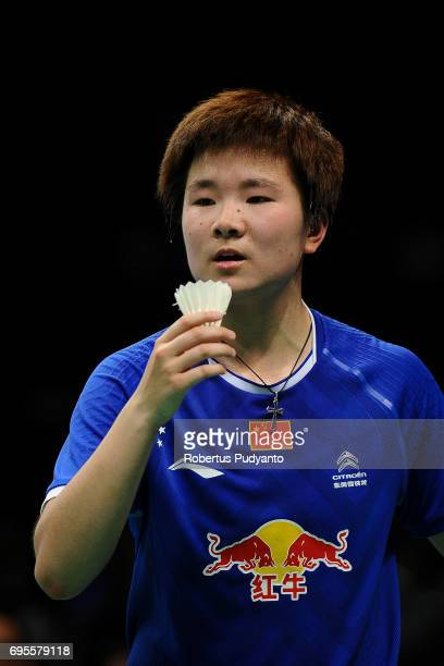 He Bingjiao of China competes against Sayaka Sato of Japan during Womens Single Round 1 match of the BCA Indonesia Open 2017 at Plenary Hall Jakarta...