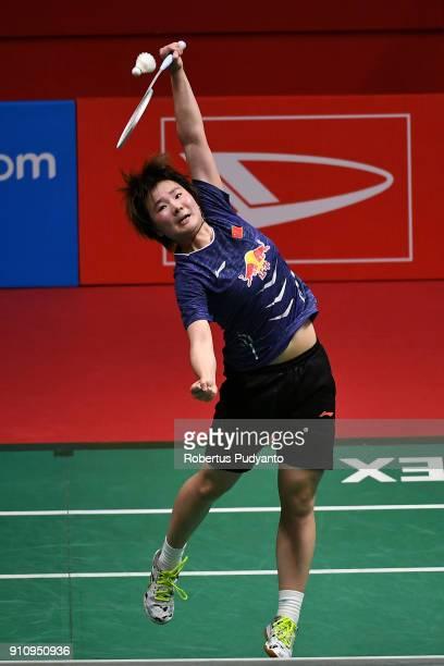 He BingJiao of China competes against Tai Tzu Ying of Chinese Taipei during the Women's Singles Semi Finals match of the Daihatsu Indonesia Masters...