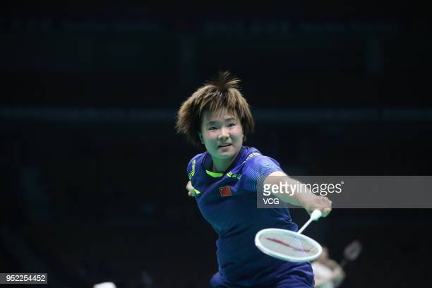 He Bingjiao of China competes against Tai Tzu Ying of Chinese Taipei during women's singles quarterfinal match on day four of 2018 Badminton Asia...