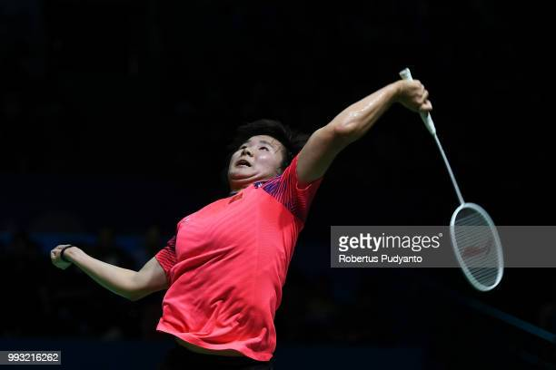 He Bingjiao of China competes against Tai Tzu Ying of Chinese Taipei during the Women's Singles Semifinal match on day five of the Blibli Indonesia...