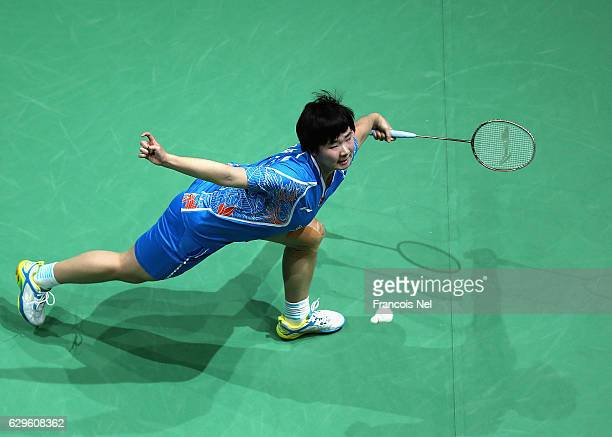 He Bingjiao of China competes against Tai Tzu Ying of Taiwan in the Women's Singles matchduring day one of the BWF Dubai World Superseries Finals at...