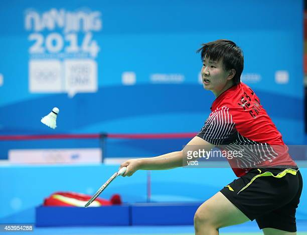 He Bingjiao of China competes in the Women's Singles Gold Medal Match against Akane Yamaguchi of Japan at Sport Institute Gymnasium during day six of...