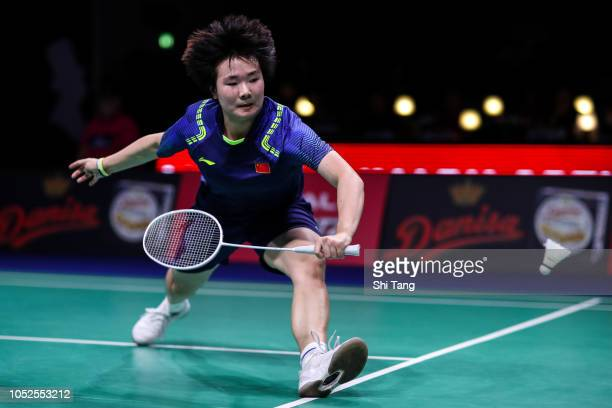 He Bingjiao of China competes in the Women's Singles quarter finals match against Cai Yanyan of China on day four of the Denmark Open at Odense...