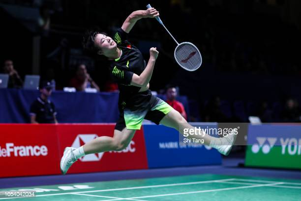 He Bingjiao of China competes in the Women's Singles quarter finals match against Pusarla V Sindhu of India on day four of the French Open at Stade...