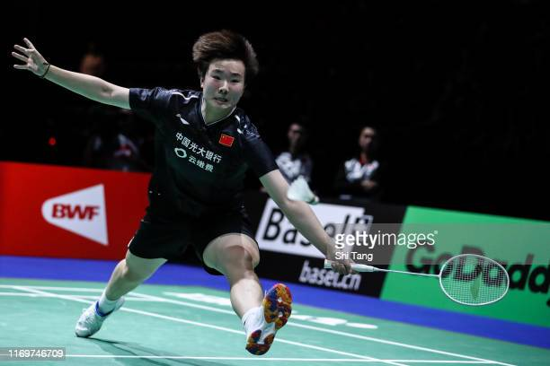 He Bingjiao of China competes in the Women's Singles quarter finals match against Nozomi Okuhara of Japan during day five of the Total BWF World...