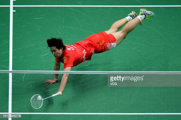 He Bingjiao of China competes in the Women's Singles quarterfinal match against Tai Tzuying of Chinese Taipei on day five of TOTAL BWF World...