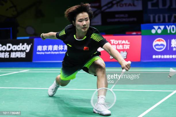 He Bingjiao of China competes in the Women's Singles third round match against Thuy Linh Nguyen of Vietnam on day four of TOTAL BWF World...