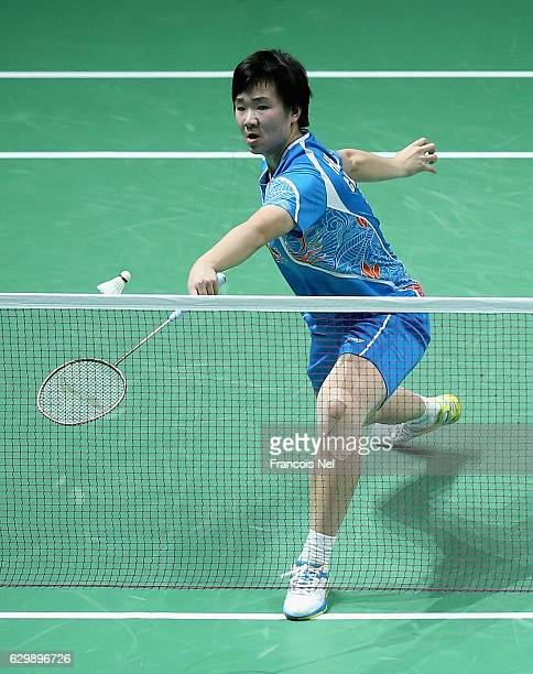 He Bingjiao of China in action against Sung Ji Hyun of Korea in the Women's singles during day two of the BWF Dubai World Superseries Finals at the...