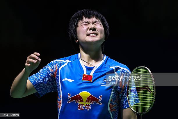 He Bingjiao of China reacts against Pusarla Venkata Sindhu of India during women's singles quarterfinal match on day four of BWF Thaihot China Open...