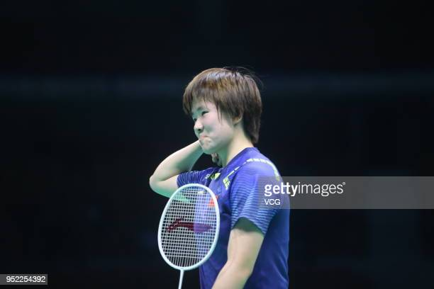 He Bingjiao of China reacts against Tai Tzu Ying of Chinese Taipei during women's singles quarterfinal match on day four of 2018 Badminton Asia...