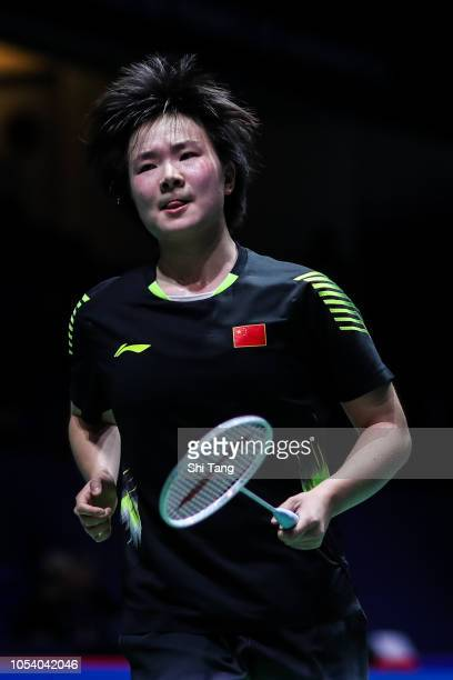 He Bingjiao of China reacts in the Women's Singles quarter finals match against Pusarla V Sindhu of India on day four of the French Open at Stade...