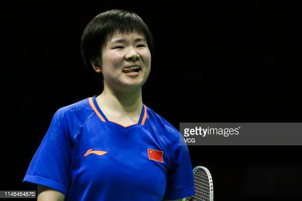 He Bingjiao of China reacts in the Women's Singles semifinal match against Cai Yanyan of China on day five of the Asian Badminton Championship 2019...
