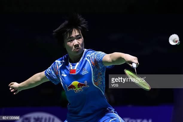 He Bingjiao of China returns a shot against Pusarla Venkata Sindhu of India during women's singles quarterfinal match on day four of BWF Thaihot...