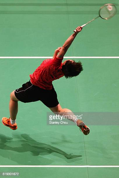 He Bingjiao of China smashes against Pusarla V Sinahu of India in the Women Singles during round one of the BWF World Super Series Badminton Malaysia...