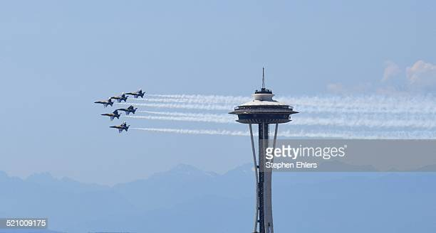 He Blue Angels fly by the Space Needle in Seattle Washington