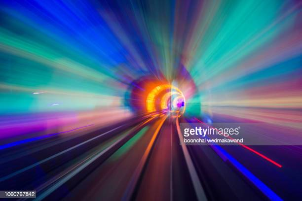 he bund sightseeing tunnel under huangpu river is one of shanghai's, china - tunnel stock pictures, royalty-free photos & images