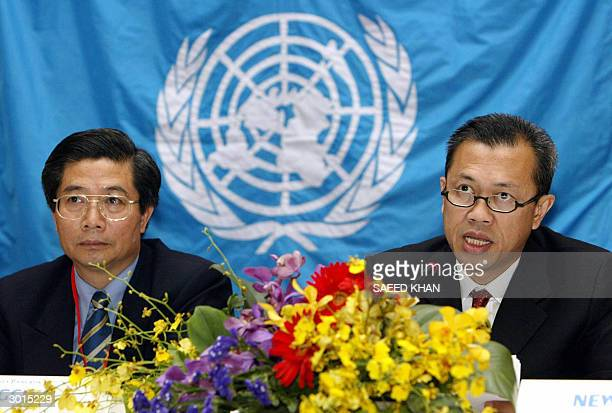 He Changchui representative of United Nations' Food and Agriculture Authority looks on as Thai Deputy Minister of Agriculture and Cooperatives Newin...