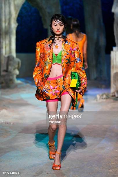 He Cong walks the runway at the Versace fashion show during the Milan Women's Fashion Week on September 25, 2020 in Milan, Italy.
