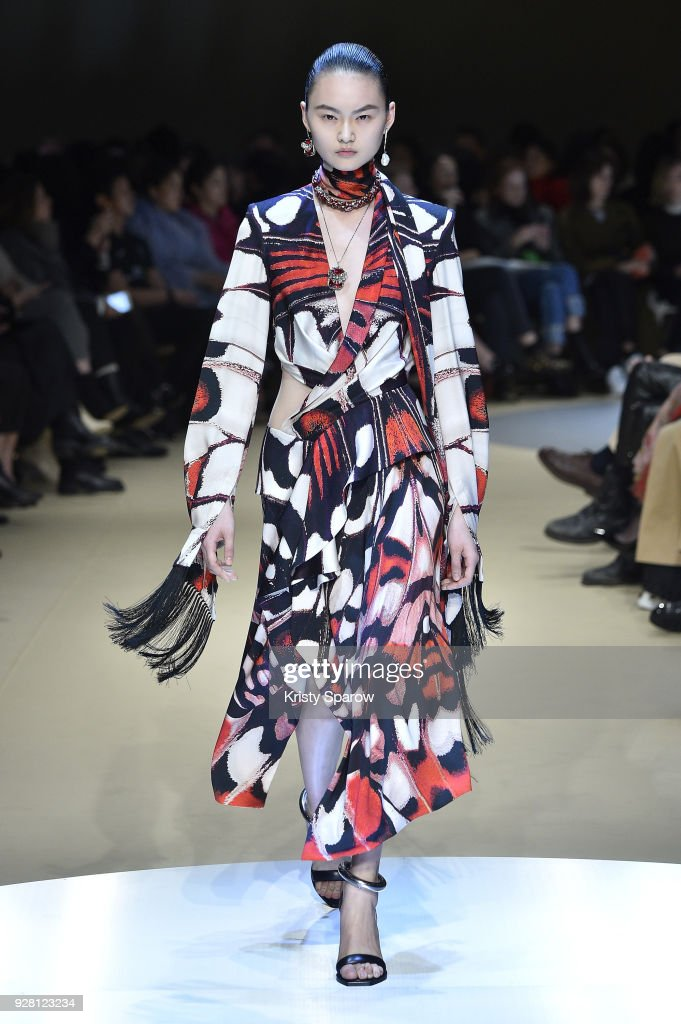 He Cong walks the runway during the Alexander McQueen show as part of Paris Fashion Week Womenswear Fall/Winter 2018/2019 on March 5, 2018 in Paris, France.